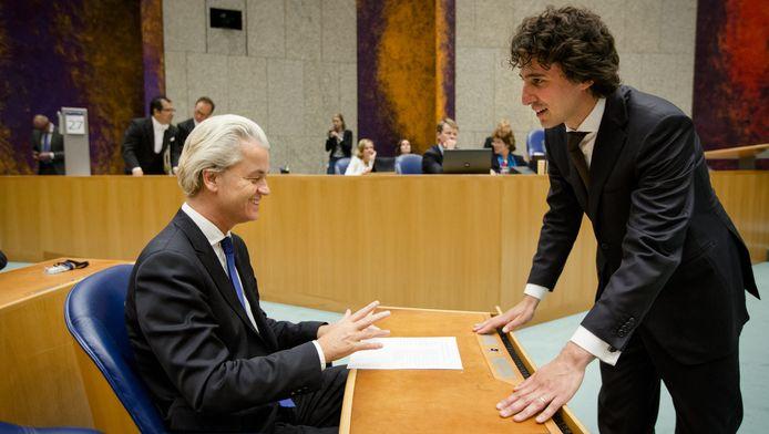 Geert Wilders (L) en Jesse Klaver in de Tweede Kamer.