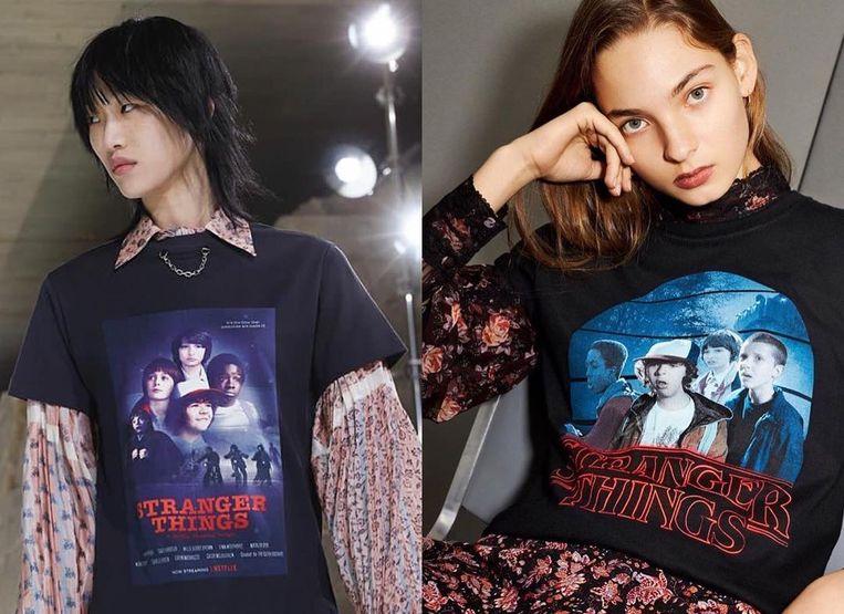 Links een T-shirt van Louis Vuitton, rechts een van Topshop.