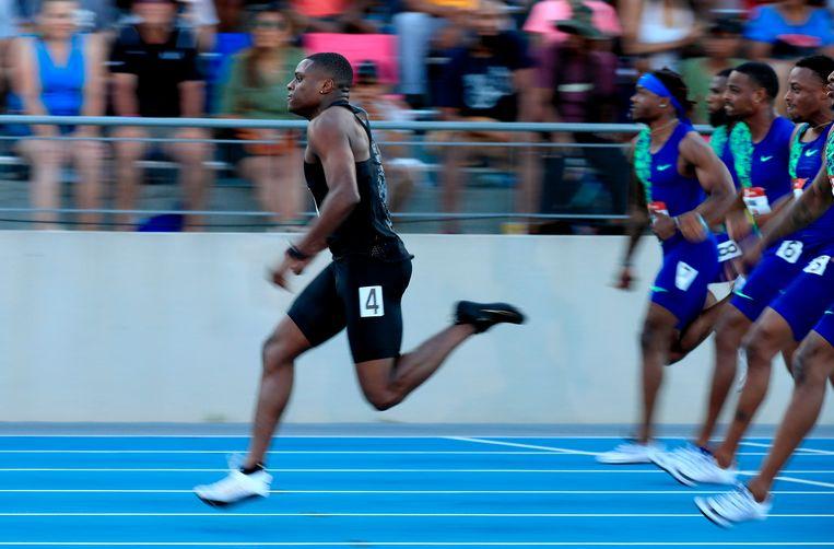 Christian Coleman vorig jaar op de 100 meter van de USATF Outdoor Championships in de VS. Beeld AFP