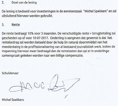 Een deel van het contract dat Anke met Spekkers sloot.