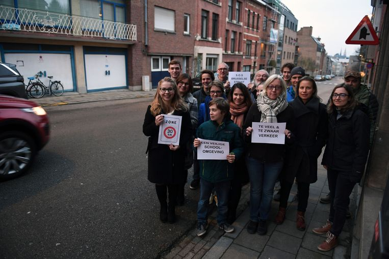 Protest tegen overdreven snelheid in de Brusselsestraat in Leuven.