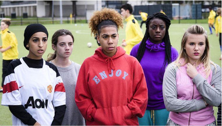 Voetbalmeisjes. Beeld