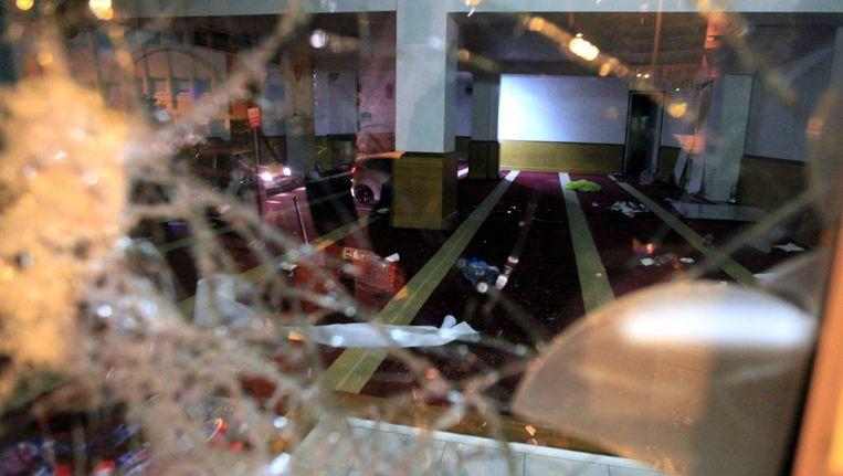 Een gebedsruimte in Ajaccio, Corsica, die op Eerste Kerstdag werd vernield. Beeld afp