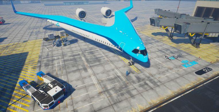 Flying-V van TU Delft en KLM. Beeld Edwin Wallet - Studio OSO