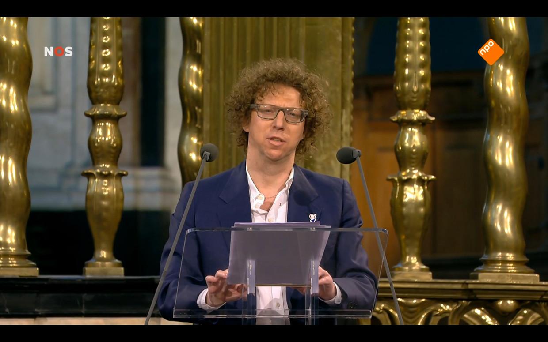 De lezing van Arnon Grunberg bij de Nationale Herdenking. Beeld