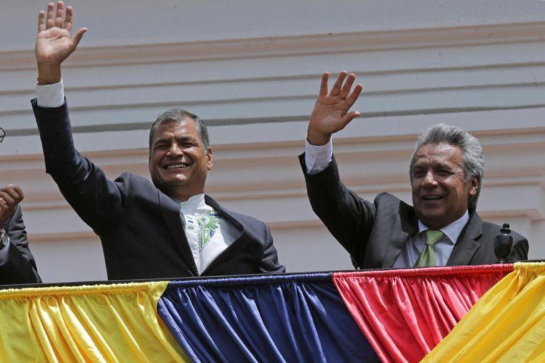 Links president van Ecuador Rafael Correa en rechts presidentskandidaat Lenin Moreno. Beeld ap