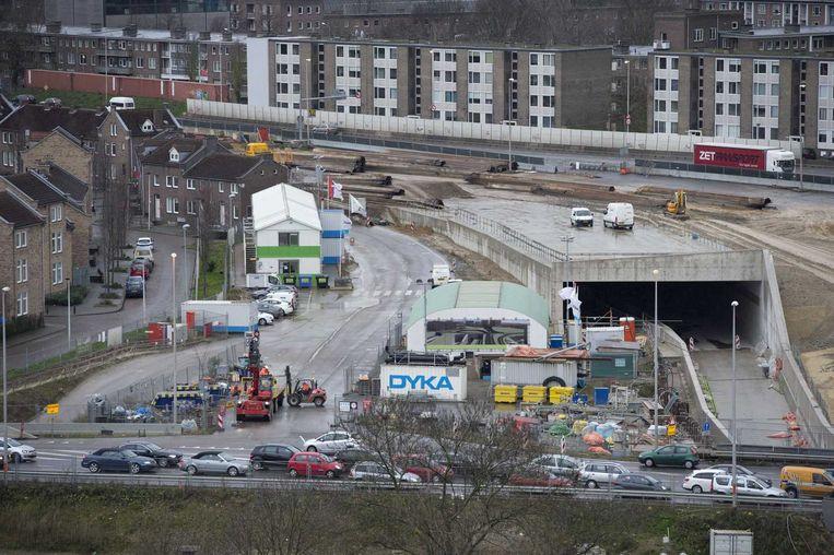 Tunnelbouwers hebben de laatste betonstort voor de ruwbouw van de tunnel voor de A2 begin december uitgevoerd. Beeld anp