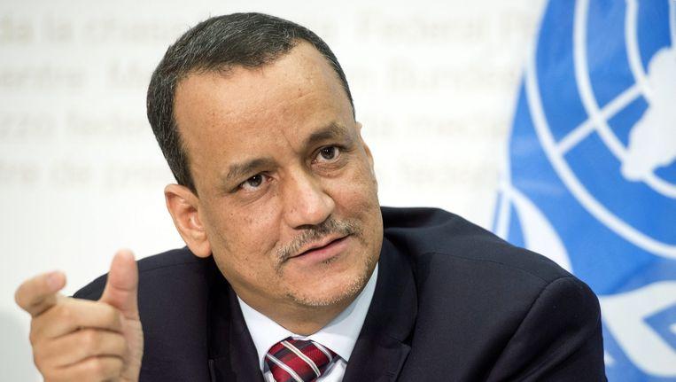 De speciale gezant voor Jemen van de Verenigde Naties, Ismail Ould Cheikh Ahmed, tijdens een persconferentie in Zwitserland. Beeld epa