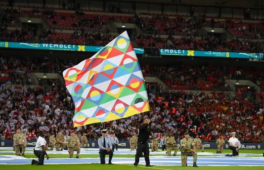 De Nations League-vlag voor Spanje-Engeland van vorige maand.