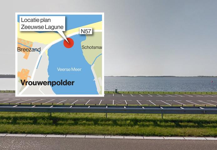 Het Veerse Meer, gezien vanaf de Veerse Gatdam. Inzet: een kaartje waarop te zien is waar het schiereiland moet komen.