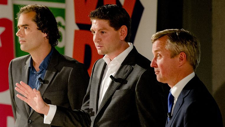 Laurens Ivens (SP), Jan Paternotte (D66) en Eric van den Burg (VVD) Beeld anp
