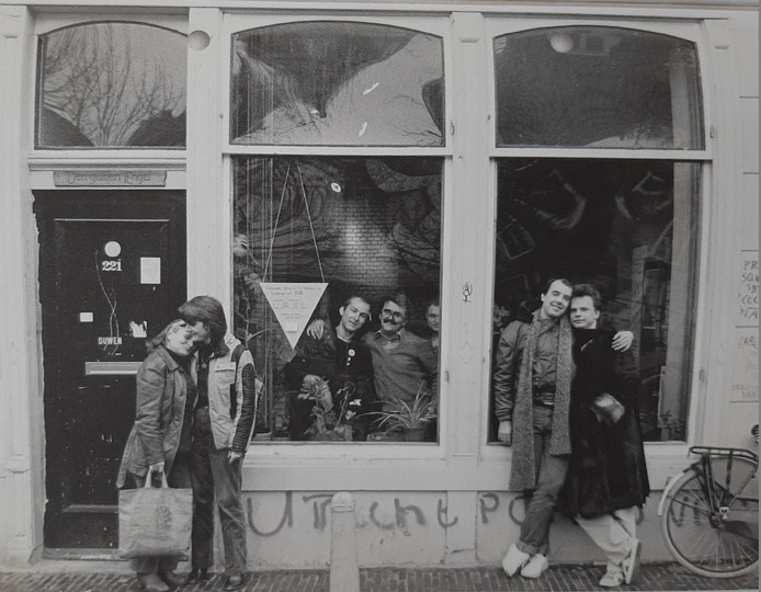 Het COC Utrecht ging bovengronds aan aan de Oudegracht 221. Deze foto dateert van begin jaren 80.