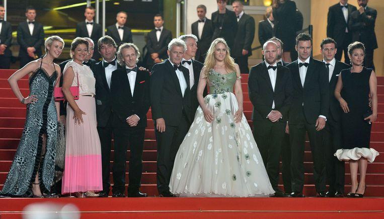 Cast en crew van Borgman in Cannes in 2013, met zesde van links regisseur Alex van Warmerdam. Beeld AFP