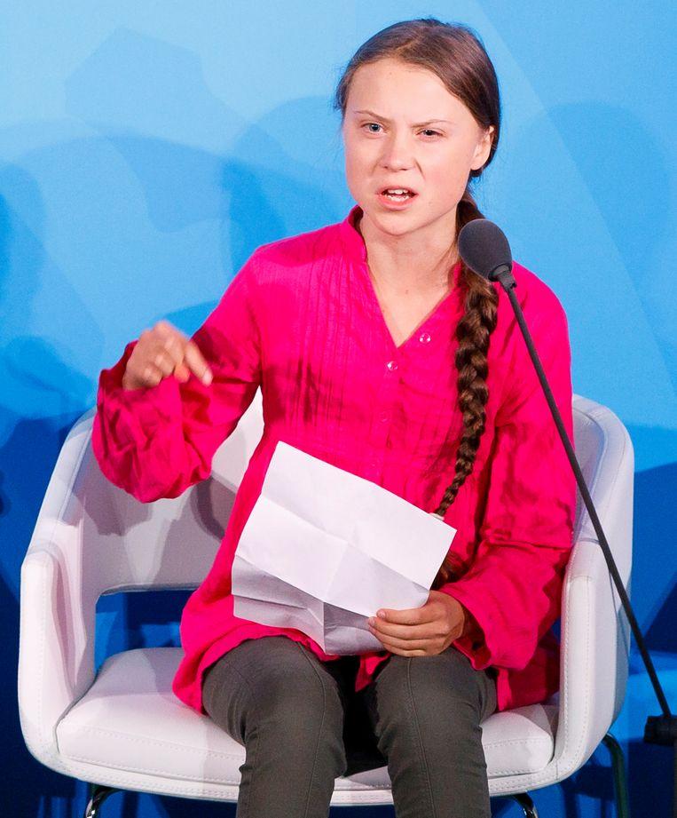 Greta Thunberg zei in haar VN-speech:  'Jullie hebben mijn dromen en mijn kindertijd vernietigd'.  Beeld EPA