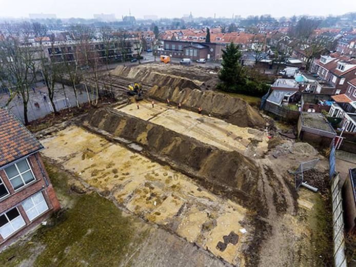Een bovenaanzicht van het archeologisch onderzoek aan de Hendrik van Tulderstraat in Tilburg.
