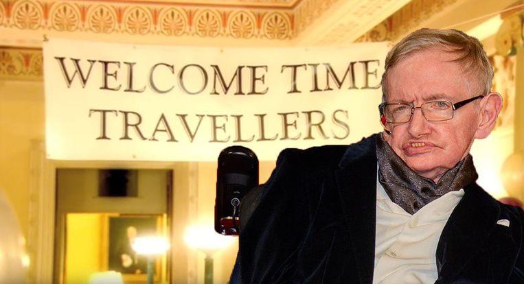 Feestje voor tijdreizigers Stephen Hawking.