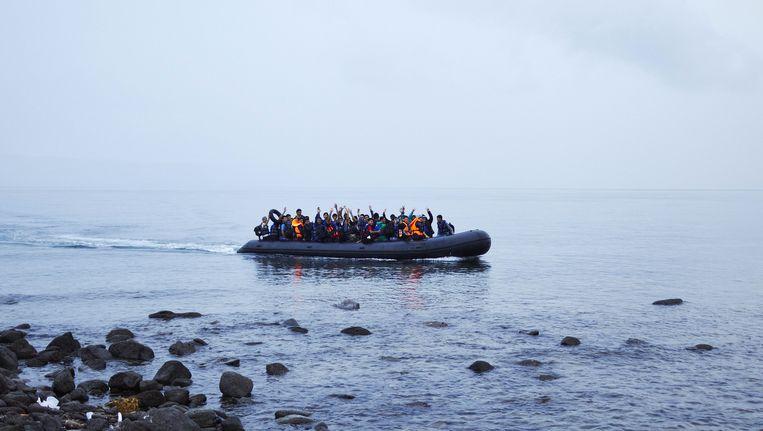 Vluchtelingen komen aan op Lesbos in Griekenland Beeld ANP