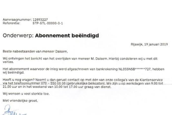 De brief van de Staatsloterij waarin deelnemer Martin Dalsem uit Kampen werd doodverklaard.