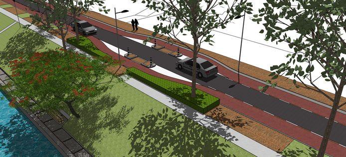 De nieuwe Kanaalboulevard langs de Zuid-Willemsvaart (links onder) tussen Kardinaal van Rossumplein (auto links rijdt naar plein) en Suis 0. Er is uiteindelijk gekozen voor asfalt en wegversmallingen.