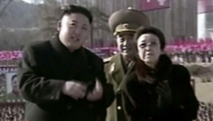 Kim Jong Un met Tante Kim Kyong-hui en zijn omgebrachte oom Jang Song-theak