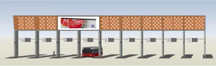 Schermen en een metalen constructie tussen de ramen boven de bussen op het station