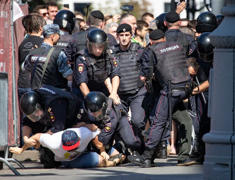 De Russische politie arresteerde dit weekend meer dan duizend betogers in Moskou.
