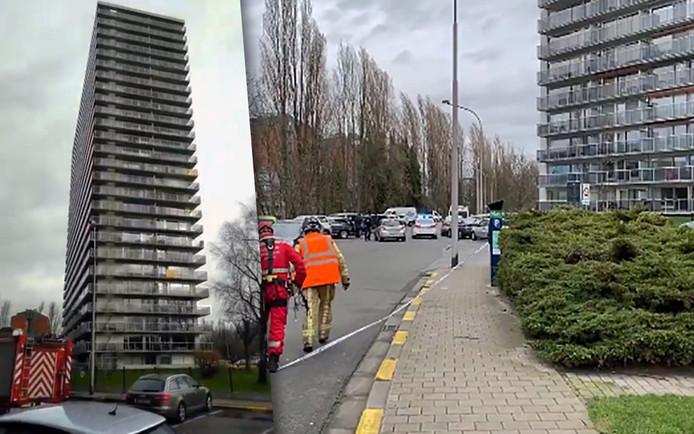 Des gardes-corps vitrés des terrasses d'un immeuble menacent de tomber, à Gand