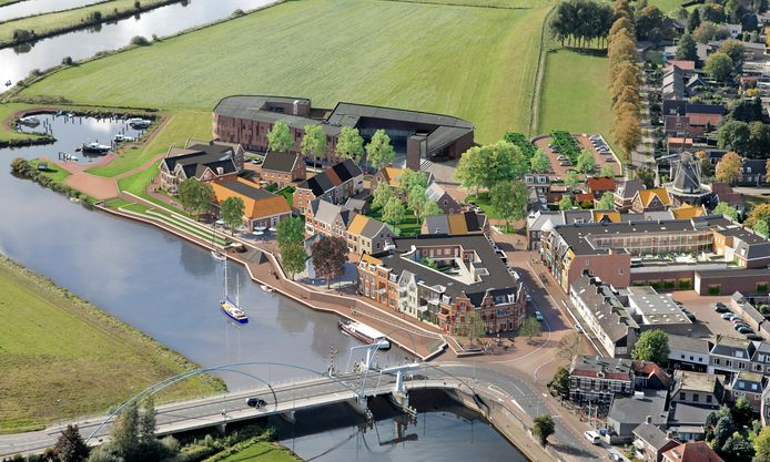 Theater De Stoomfabriek in Dalfsen, hier links aan de kade (met oranje dak) in het vernieuwde waterfront van Dalfsen.