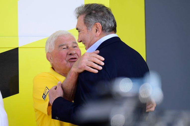 Merckx en Poulidor tijdens de Tourstart in Brussel dit jaar.