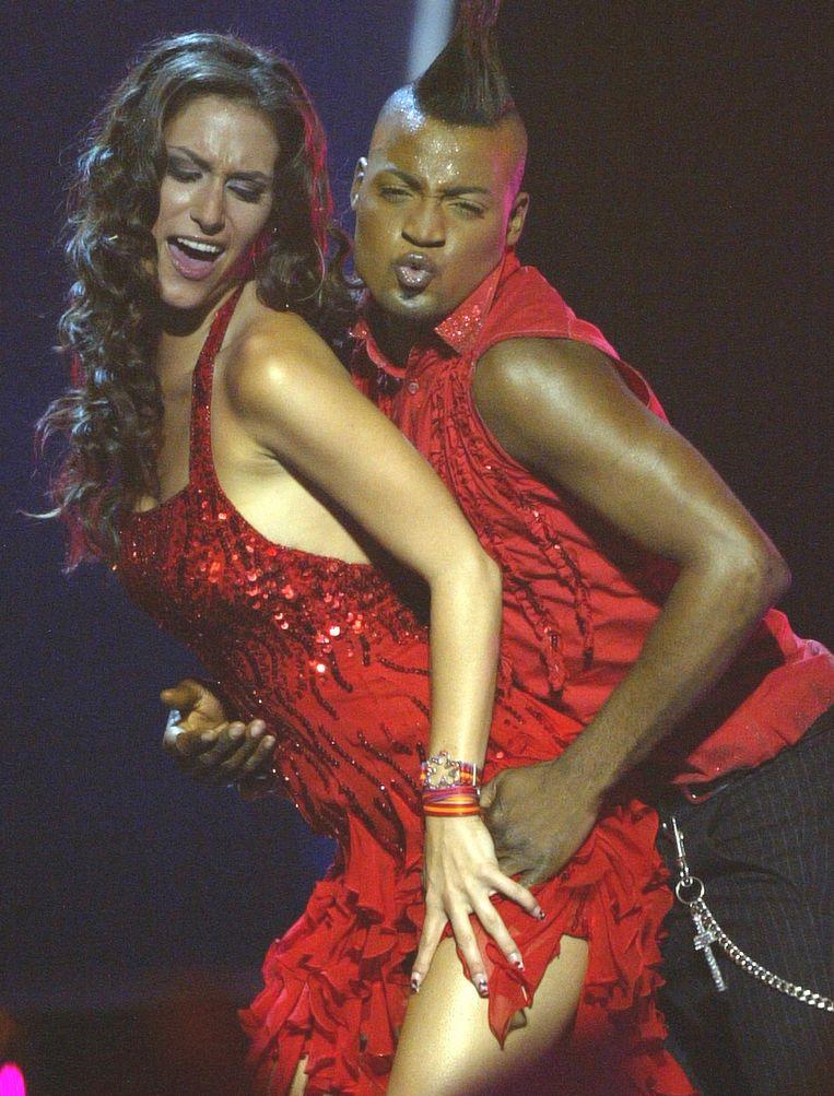 Tijdens haar deelname aan het Songfestival in 2004.