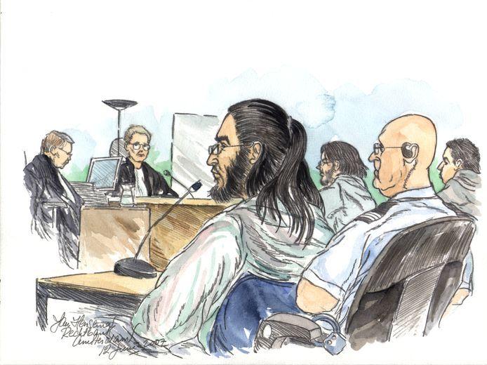 Samir A. tijdens een zittingsdag in de extra beveiligde zittingszaal in Amsterdam Osdorp in 2007.