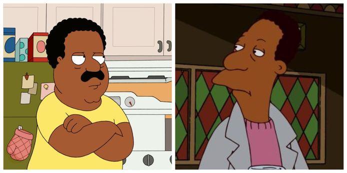 Cleveland Brown uit 'Family Guy' en Carl uit 'The Simpsons'