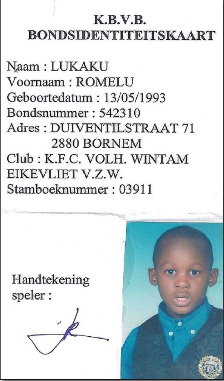 Zo zag de eerste aansluitingskaart van Romelu Lukaku eruit.