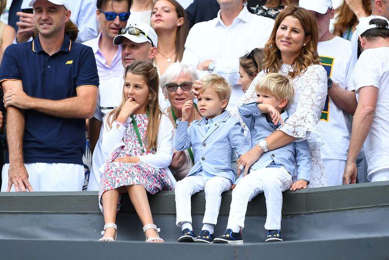 Het gezin van Federer, hier tijdens Wimbledon van 2017.