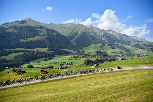 Het peloton in actie tijdens de vierde etappe van de Ronde van Zwitserland.