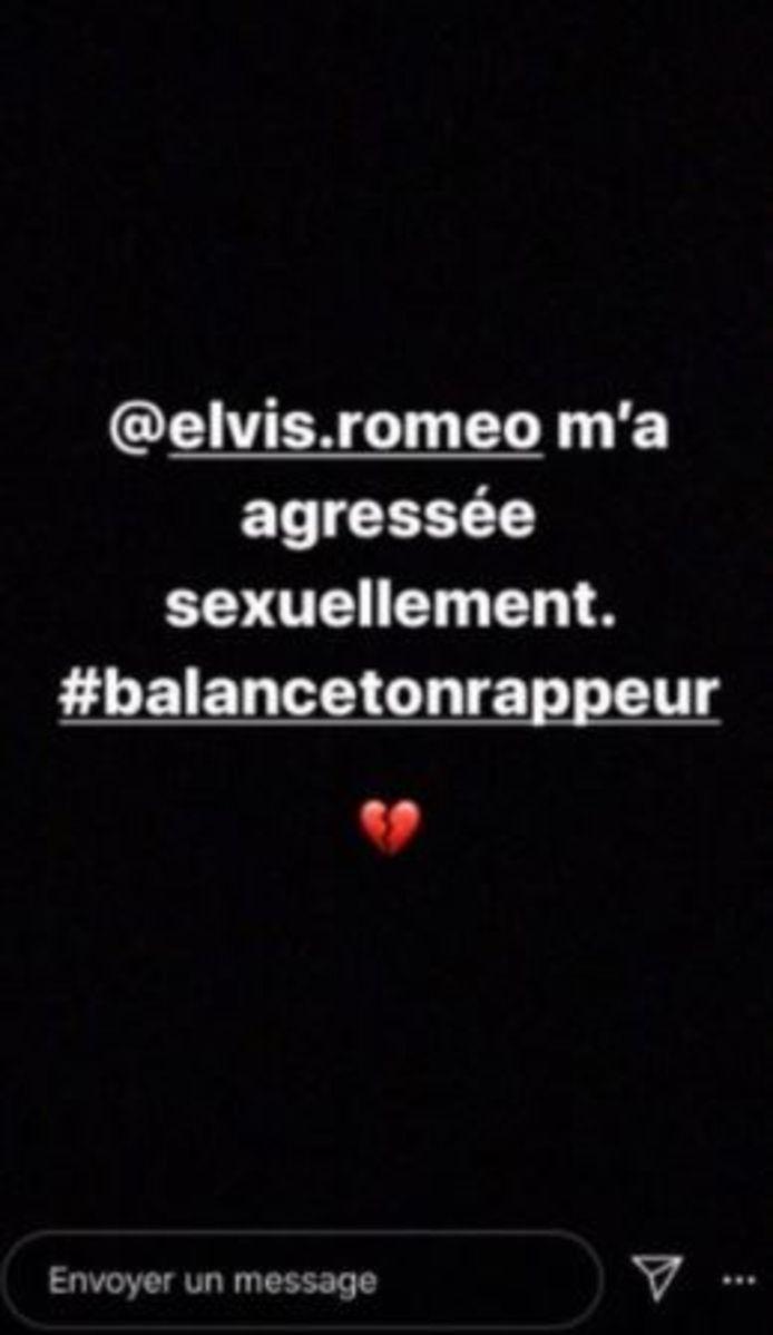 Ces captures d'écran, tirées d'au moins deux comptes Instagram et relayées sur les réseaux sociaux, mettent en cause Roméo Elvis.