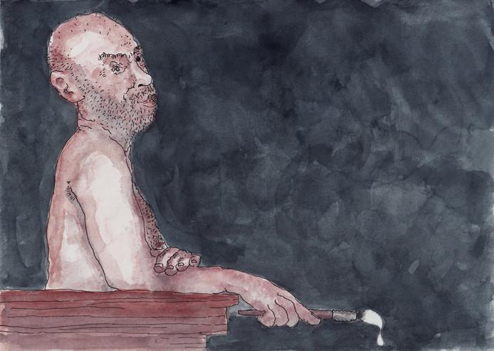 'Melancholie', een aquarel van Peter Koene. Hij exposeert in Schijndel.