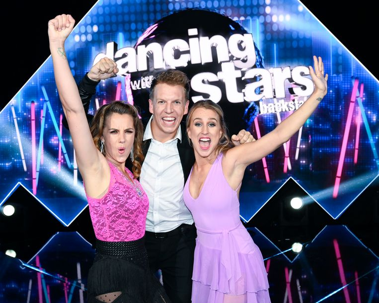 Leen Dendievel, James Cooke en Kat Kerkhofs in 'Dancing with the Stars'.