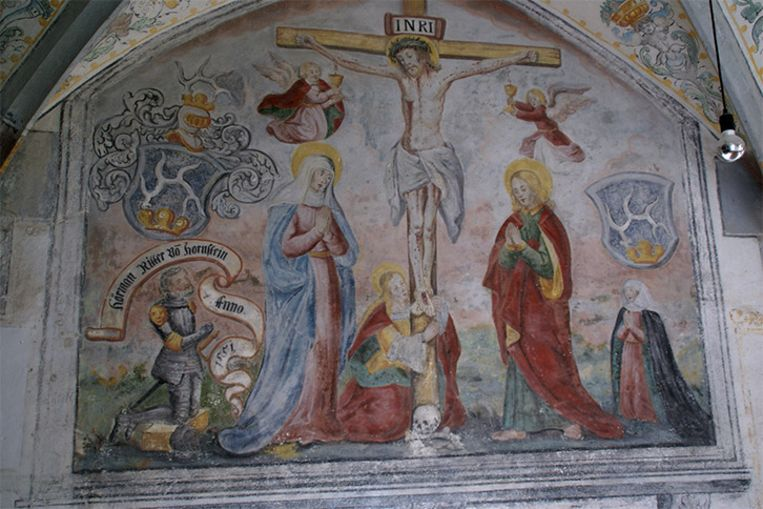 Een fresco van de kruisiging van Jezus Beeld Wikimedia Commons