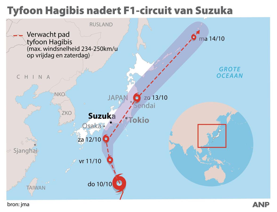 2019-10-10 09:28:44 Tyfoon Hagibis nadert F1-circuit van Suzuka. ANP INFOGRAPHICS