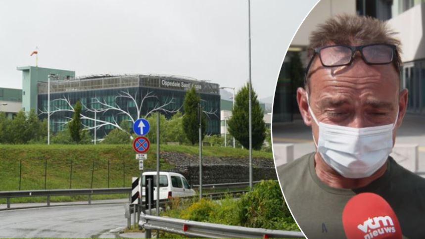 Het Ospedale Sant'Anna in Como, het ziekenhuis waar Remco Evenepoel ligt na zijn val in de Ronde van Lombardije, rechts: Patrick Evenepoel.