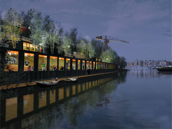 Horeca in de voormalige ASM-haven, een van de onderdelen van het toekomstplan voor Stadsblokken en Meinerswijk. Illustratie Buro Harro