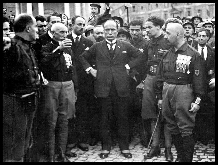 Benito Mussolini tijdens de Mars op Rome in 1922. Beeld Hollandse Hoogte / World History Archive