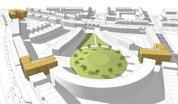 De drie complexen die Woonbedrijf vanaf 2018 gaat bouwen in de Helmondse wijk Suytkade.