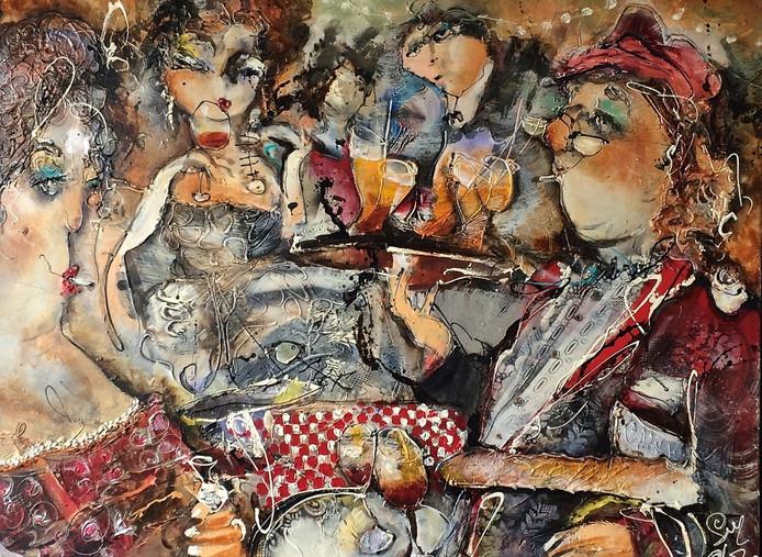 Een van de schilderijen met daarop karakteristieke figuren