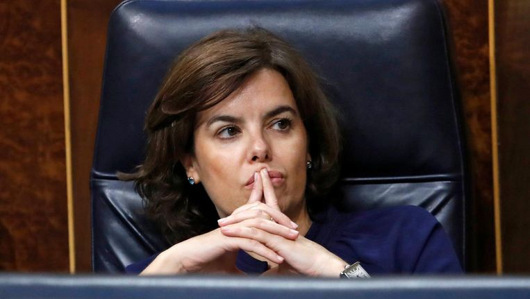 Soraya Sáenz de Santamaría in het Spaanse parlement in Madrid. Beeld epa
