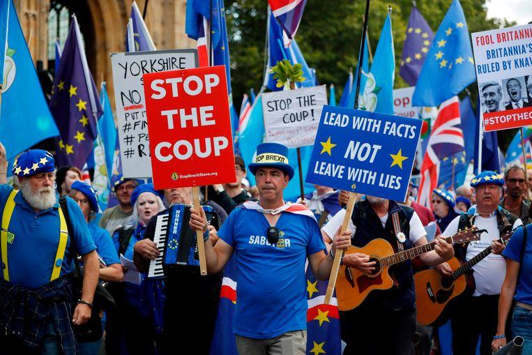 Pro-Brexit-demonstranten bij het Lagerhuis in Londen.  Beeld AFP