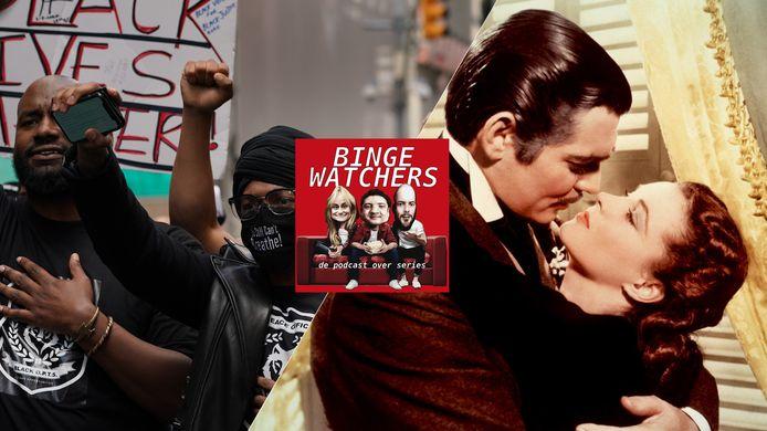 Black Lives Matter-protest in de VS (l) en Clark Gable en Vivian Leigh in de klassieker Gone with the Wind.