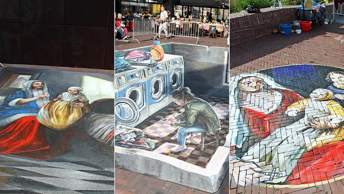 Collage straattekeningen in Delft.