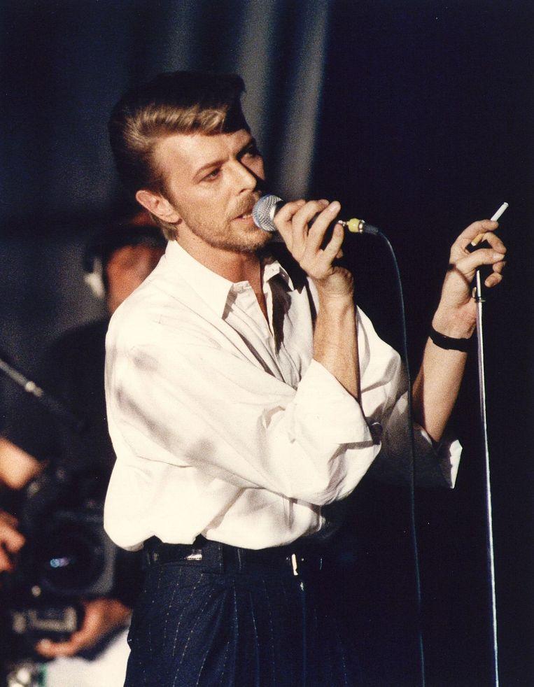 David Bowie tijdens een optreden in Paradiso in 1989. Beeld anp